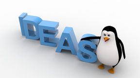 3d penguin with blue IDEAS text concept Stock Image