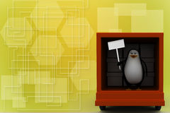 3d penguin with board inside truck Illustration Royalty Free Stock Image