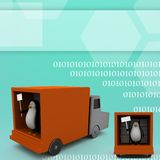 3d penguin with board inside truck Illustration Stock Photography