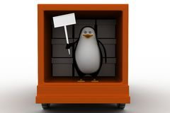 3d penguin with board inside truck Stock Photo