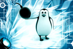 3d penguin with bomb in hand illustration Royalty Free Stock Photos