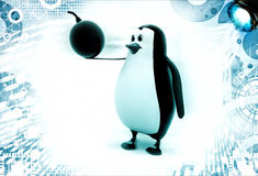3d penguin with bomb in hand illustration Stock Photo