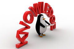 3d penguin with book in hand and knowledge text concept Royalty Free Stock Photo