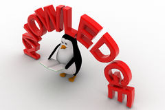 3d penguin with book in hand and knowledge text concept Stock Image