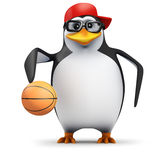 3d Penguin bounces the basketball Royalty Free Stock Photos