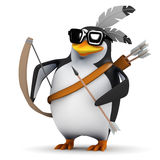 3d Penguin with bow and arrow Stock Photo