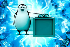 3d penguin with box and binocular illustration Stock Image