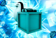 3d penguin with box and binocular illustration Royalty Free Stock Photography