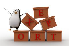 3d penguin with boxes containg export text concept Stock Photos