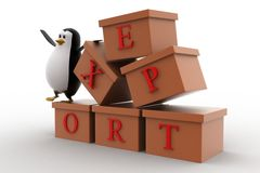 3d penguin with boxes containg export text concept Royalty Free Stock Image