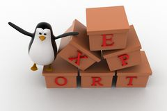 3d penguin with boxes containg export text concept Stock Photo