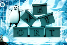 3d penguin with boxes containg export text illustration Royalty Free Stock Photos