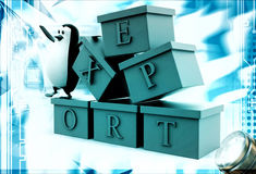 3d penguin with boxes containg export text illustration Royalty Free Stock Image