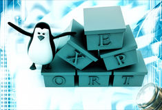 3d penguin with boxes containg export text illustration Stock Photography