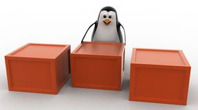 3d penguin with boxes containing alphabets concept Stock Photo