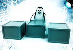 3d penguin with boxes containing alphabets illustration Royalty Free Stock Image