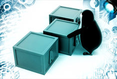 3d penguin with boxes containing alphabets illustration Stock Images