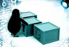 3d penguin with boxes containing alphabets illustration Royalty Free Stock Photography