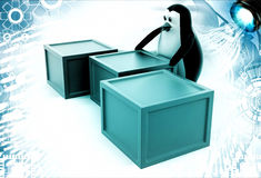 3d penguin with boxes containing alphabets illustration Stock Image