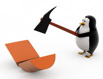 3d penguin breaking log concept Royalty Free Stock Photography