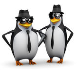 3d Penguin brothers. 3d render of two distinctively different penguins in sunglasses and pork pie hats Royalty Free Stock Photography