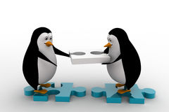3d penguin building way with puzzle piece concept Royalty Free Stock Photos