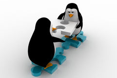 3d penguin building way with puzzle piece concept Stock Image