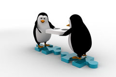 3d penguin building way with puzzle piece concept Royalty Free Stock Photo