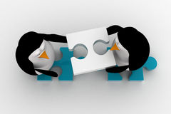 3d penguin building way with puzzle piece concept Stock Images