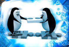 3d penguin building way with puzzle piece illustration Stock Images