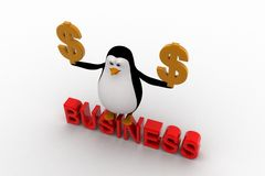3d penguin with business text and golden dollar symbol in hand concept Royalty Free Stock Image