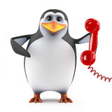3d Penguin call centre Stock Photo