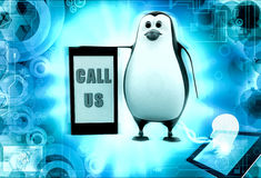 3d penguin call us concept Stock Images