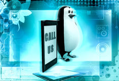 3d penguin call us concept Stock Photography