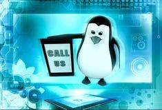 3d penguin call us concept Royalty Free Stock Photos