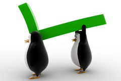 3d penguin carry big green arrow concept Royalty Free Stock Images