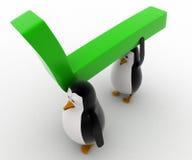3d penguin carry big green arrow concept Stock Image