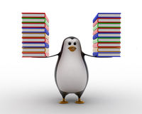 3d penguin carry books in both hands concept Stock Photography