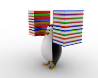 3d penguin carry books in both hands concept Royalty Free Stock Photography