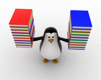 3d penguin carry books in both hands concept Royalty Free Stock Image
