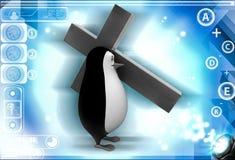 3d penguin carry christian cross on shoulder illustration Royalty Free Stock Photo