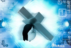3d penguin carry christian cross on shoulder illustration Stock Photography