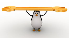 3d penguin carry golden wrench in hands concept Royalty Free Stock Image