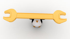 3d penguin carry golden wrench in hands concept Royalty Free Stock Photo