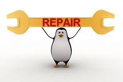 3d penguin carry golden wrench up and REPAIR written on it concept Royalty Free Stock Image