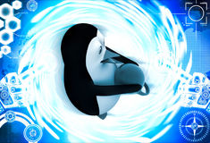 3d penguin carry heavy weight dumbbell illustration Royalty Free Stock Image