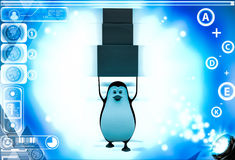 3d penguin carry three boxes togther illustration Royalty Free Stock Image