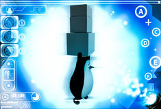 3d penguin carry three boxes togther illustration Stock Photo