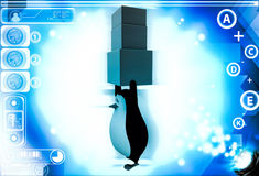 3d penguin carry three boxes togther illustration Stock Photos