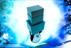 3d penguin carry three boxes togther illustration Stock Image